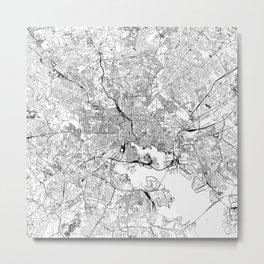 Baltimore White Map Metal Print