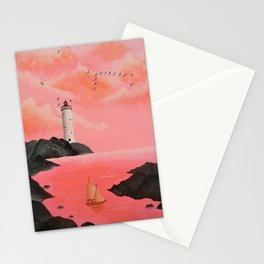 Lighthouse in Peach Stationery Cards