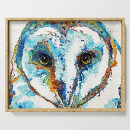 Colorful Barn Owl Art - Birds by Sharon Cummings Serving Tray