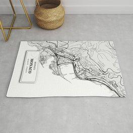Monaco City Map with GPS Coordinates Rug