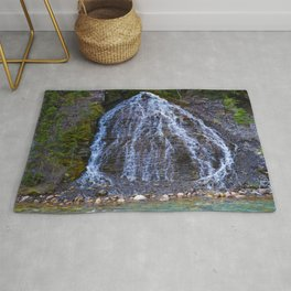 Cascading Waterfall in Maligne Canyon in Jasper National Park, Canada Rug