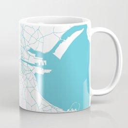 White on Turquoise Dublin Street Map Coffee Mug