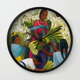 Classical Masterpiece 'The Flower Vendor' by Diego Rivera Wall Clock
