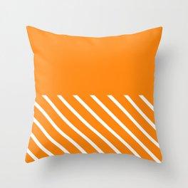 Apricot Horizontal Solid & Stripes Throw Pillow