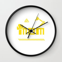 Mom Birthday Crew Construction Worker Theme Party Wall Clock