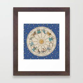 Vintage Astrology Zodiac Wheel Framed Art Print