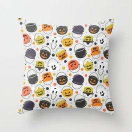 Halloween Candy Buckets Throw Pillow