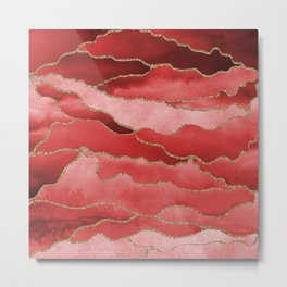 Red Abstract Nature with Gold Glittery Lines Metal Print