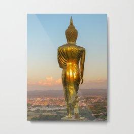 Walking Buddha at sunset Nan, Thailand | Pastel colored Photo art Print Metal Print