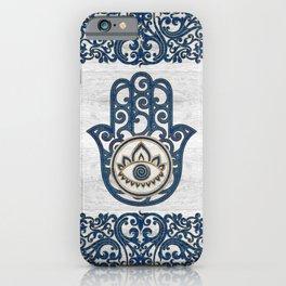 Hamsa Hand Hand of Fatima blue wood iPhone Case