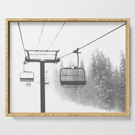 Chairlift Abyss // Black and White Chair Lift Ride to the Top Colorado Mountain Artwork Serving Tray