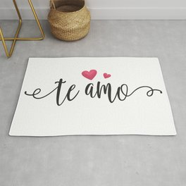 Simple and Whimsical Te Amo Spanish I Love You Valentine's Day Quote Rug