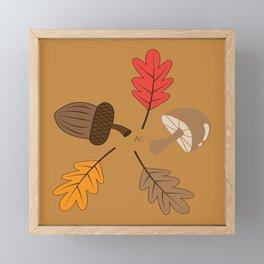 Mushroom , Acorn and Leaves Framed Mini Art Print