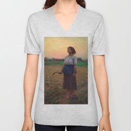 Jules Breton - Song of the Lark Unisex V-Neck