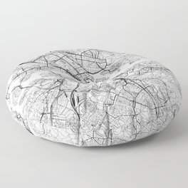 Stockholm White Map Floor Pillow