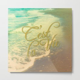 Beach Waves I - C'est La Vie Metal Print