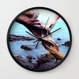 French Polynesian Tahiti Driftwood By Turquoise Ocean Beach Wall Clock