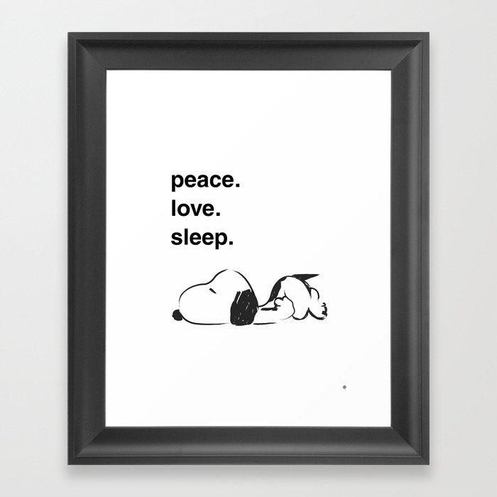 Snoopy - peace love sleep Gerahmter Kunstdruck