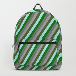 Eye-catching Turquoise, Green, Grey, Dark Grey, and Dark Olive Green Colored Striped Pattern Backpack
