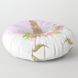 Pink Unicorn and Gold Stars Floor Pillow