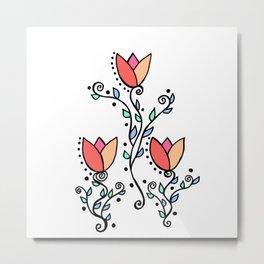 Three Tulips Doodle Art – Coral Pink Yellow Metal Print