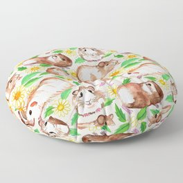 Guinea Pigs and Daisies in Watercolor Floor Pillow