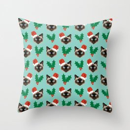 Siamese Cat cute christmas gift santa hat pattern mistletoe and holly wreath cats cute kitten gift  Throw Pillow