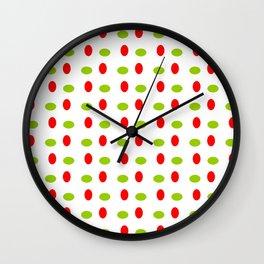Wild polka dot 17- green and red Wall Clock
