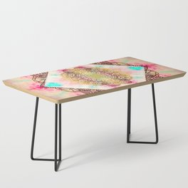 Vintage decorative Gold Turquoise Pink Pattern Coffee Table