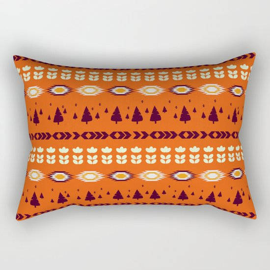 Holiday pattern with christmas trees rectangular pillow by