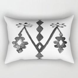 Tree of Life Black White Tribal Ethnic Kilim Motif Rectangular Pillow