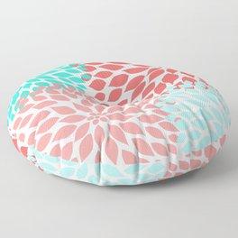 Coral Teal Dahlia Bouquet Floor Pillow