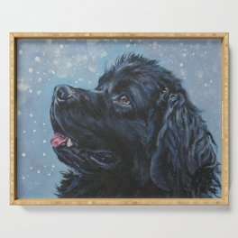 Newfoundland Dog Art Portrait from an original painting by L.A.Shepard Serving Tray