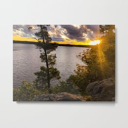 Sunset Over Lake Metal Print