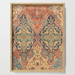 Geometric Leaves VIII // 18th Century Distressed Red Blue Green Colorful Ornate Accent Rug Pattern Serving Tray