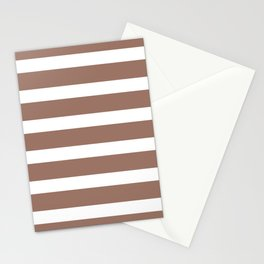 Brown Cacao Stripes and White Stationery Cards