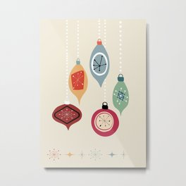Retro Christmas Baubles Metal Print