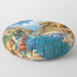 Dinosaurs bathe and drink in the river Floor Pillow