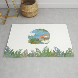 Otter in the forest Rug