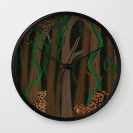 Jungle leopards/ leopard family/ mystery jungle/ dark jungle/ big wildcat in the jungle/ tropical jungle and leopards  Wall Clock