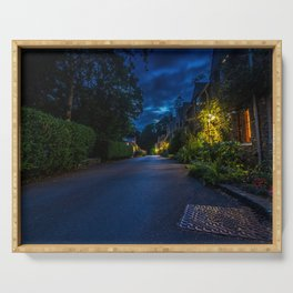 England Castle Combe Roads Street Night Houses Cities night time Building Serving Tray