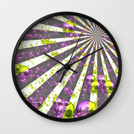 Pink neon green ball Wall Clock