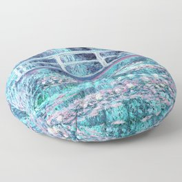 Monet The Water Lily Pond Pastel Ice Blue Pink Floor Pillow