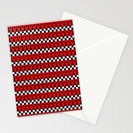 Geometric Pattern No.1 Red and Black Stationery Cards