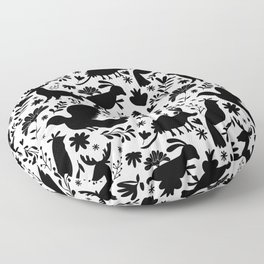 Seamless Mexican Otomi Style monochromatic Pattern Floor Pillow