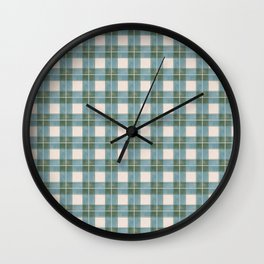 Green, Blue, and Ivory Traditional Plaid Pattern Wall Clock