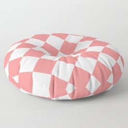 Large Diamonds - White and Coral Pink Floor Pillow