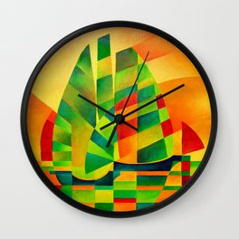 Chinese Junks, Sunset, Sails and Shadows Wall Clock