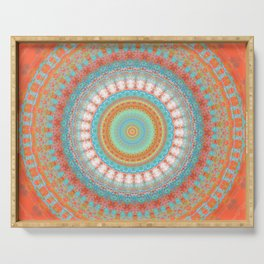 Turquoise Coral Mandala Design Serving Tray