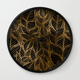 Art Deco Glamorous Cascade of Luxurious Leaves Pattern Wall Clock